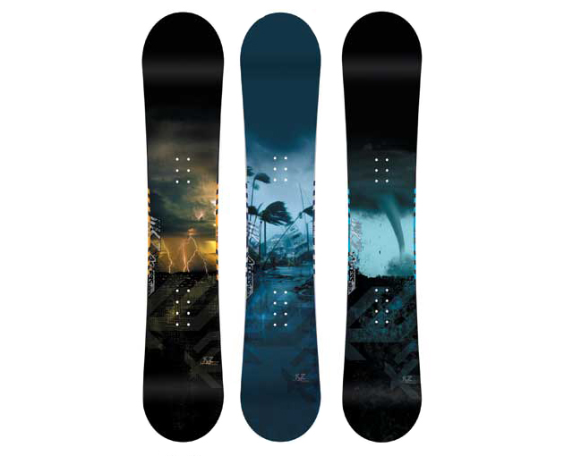 Student Design for Snowboards - Concept - Storms of the Four Seasons metaphorically represent the power of the boards.