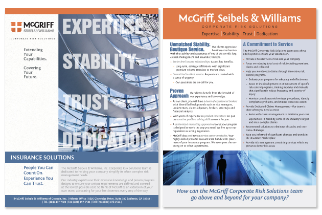 Front and Back of Sales Sheet for Risk Management