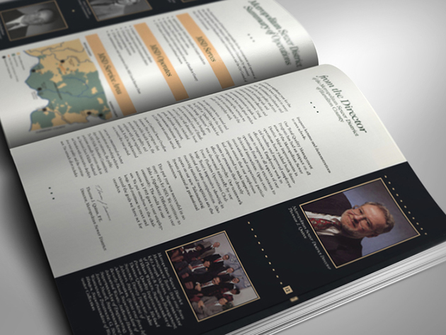 Inside spread of annual report