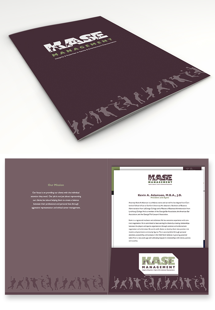 (Above) Custom Folder closed and open. Matte finish custom folder holds bios of all attorneys and agents, brochure and welcome letter to new clients.
